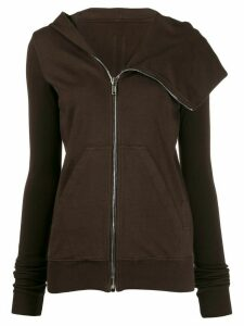 Rick Owens DRKSHDW asymmetric zipped hoodie - Brown