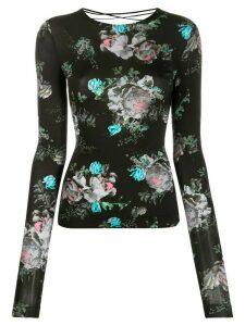Preen By Thornton Bregazzi floral-print lace-up detail top - Black