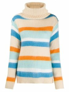 Semicouture roll-neck striped jumper - NEUTRALS