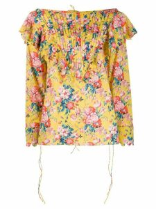 Horror Vacui ruffle trimmed floral top - Yellow