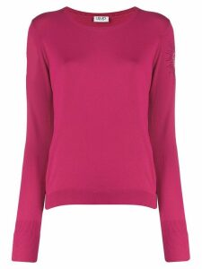 LIU JO embellished sleeve knit sweater - PINK
