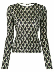 Preen By Thornton Bregazzi geometric-print lace-up top - Black