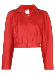 AREA embellished cropped track jacket - Red
