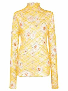 Collina Strada sheer floral print lace top - Yellow