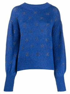John Richmond rhinestone logo jumper - Blue