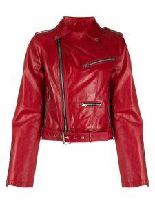 Isabel Benenato cropped leather jacket - Red