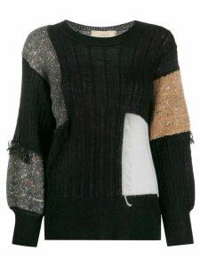 Maison Flaneur patch-work long sleeve jumper - Black