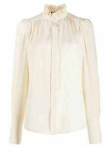Isabel Marant ruffle-neck long-sleeved blouse - NEUTRALS