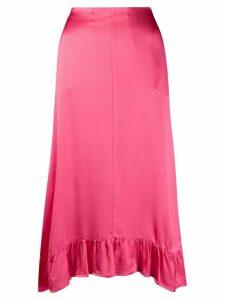 Semicouture ruffle trimmed midi skirt - PINK