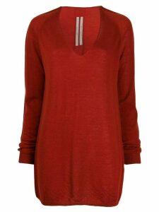 Rick Owens v-neck cashmere sweater - Red