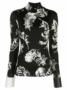 Loewe feather print turtle neck top - Black