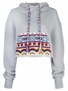 Alanui contrasting pocket cropped hoodie - Grey