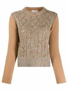 Ballantyne long-sleeve fitted jumper - Brown