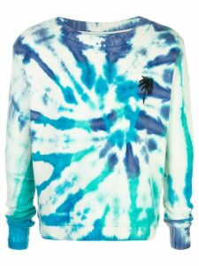 The Elder Statesman tie-dye palm tree cashmere jumper - Blue