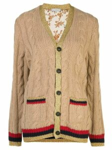 Pierre-Louis Mascia contrast-trim cardigan - Brown