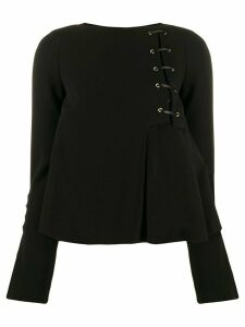 Just Cavalli flared lace up detail blouse - Black