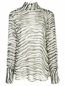 Nili Lotan zebra print long-sleeved top - White