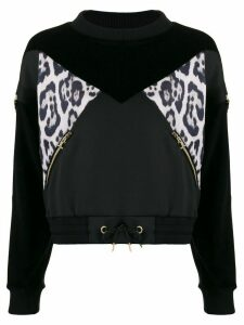 Just Cavalli leopard print panel sweatshirt - Black