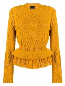 Just Cavalli cable knit fringed jumper - ORANGE