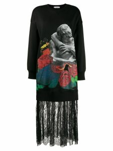 Valentino x Undercover Lovers print lace trimmed sweater dress - Black