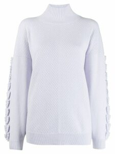 Barrie embroidered sleeve turtleneck jumper - Blue