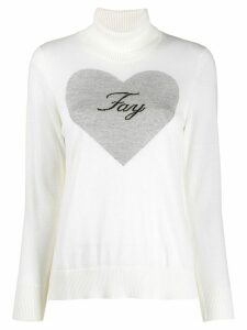 Fay logo heart jumper - White