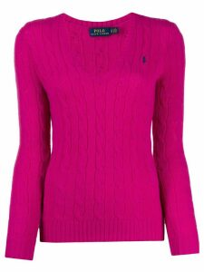 Polo Ralph Lauren v-neck cable knit sweater - PINK