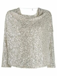 Patrizia Pepe sequin-embellished draped blouse - Metallic