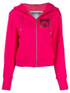 Moschino logo patch zip-front hoodie - PINK