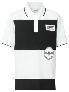Burberry logo appliqué striped oversized polo shirt - White