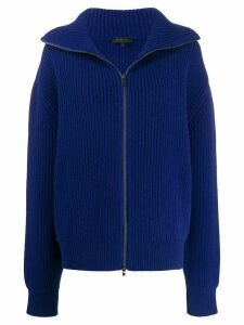 Ann Demeulemeester ribbed zip-up jumper - Blue