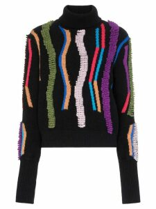 Peter Pilotto loop embroidered turtleneck jumper - Blue