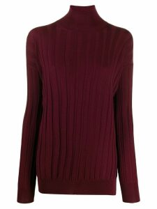 Plan C turtle-neck ribbed sweater - Red