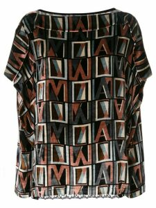 Antonio Marras initial logo print lace detail blouse - Black