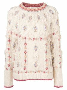 Mes Demoiselles round neck cable knit jumper - NEUTRALS