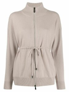 Peserico zipped fitted cardigan - NEUTRALS
