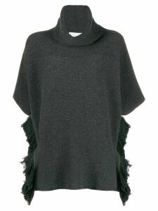 Fabiana Filippi fringed hem short-sleeved jumper - Grey