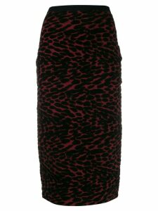 DVF Diane von Furstenberg knitted leopard pencil skirt - Red
