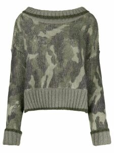 Twin-Set oversized camouflage jumper - Green