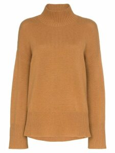 FRAME high low turtleneck jumper - Brown