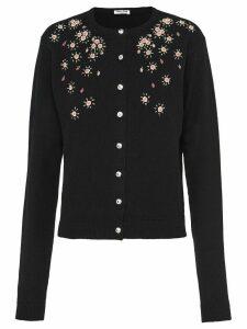 Miu Miu cashmere floral embroidery cardigan - Black