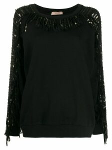 Twin-Set sequin-embellished fringed sweatshirt - Black