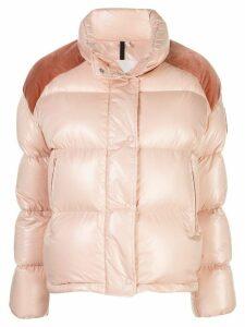Moncler contrast panel puffer jacket - PINK