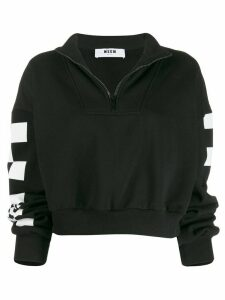 MSGM zipped cropped logo sweatshirt - Black