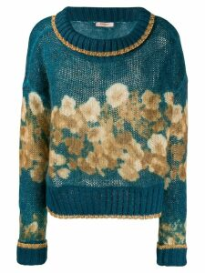Twin-Set floral boat-neck jumper - Blue