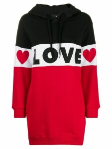 Love Moschino colour blocked oversized hoodie - Black