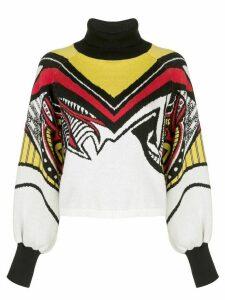 Victoria Hayes colour-block turtle neck sweatshirt - White