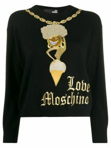 Love Moschino embroidered gold-chain sweater - Black