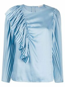 Sandro Paris pleated detail long-sleeved blouse - Blue