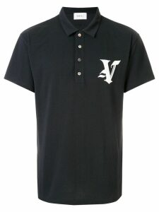 Ports V embroidered logo polo shirt - Black